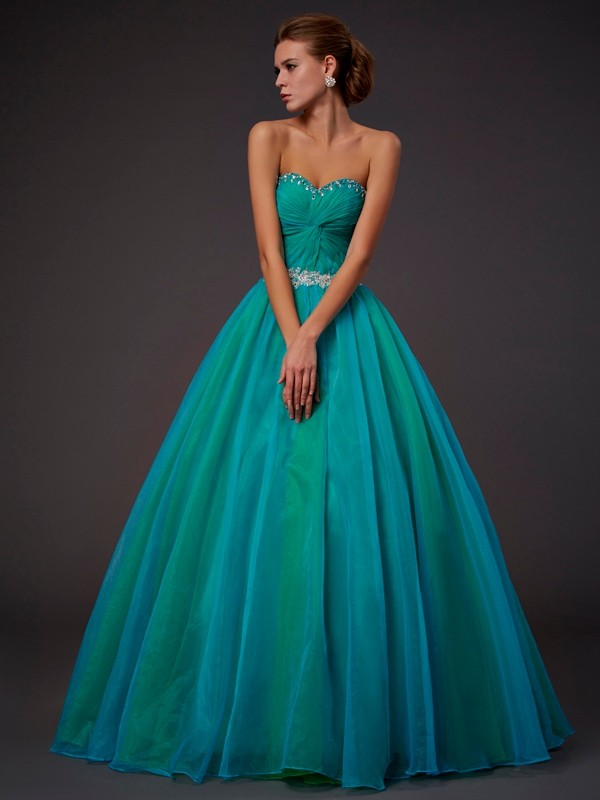 Ball Gown Tulle Sweetheart Sleeveless Floor-Length With Beading Quinceanera Dresses