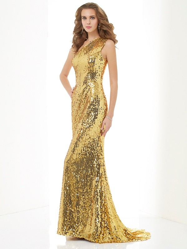 Sheath Lace One-Shoulder Sleeveless Sweep/Brush Train With Sequin Dresses