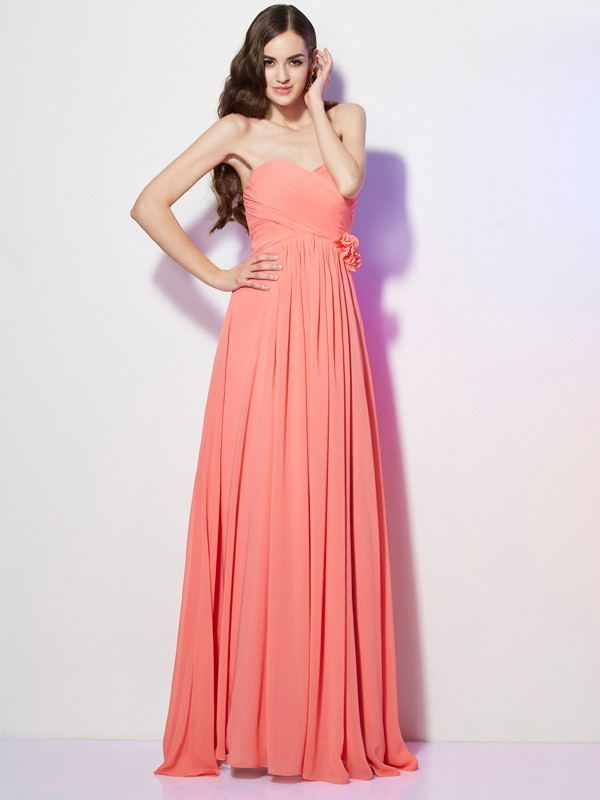 A-Line Chiffon Sweetheart Sleeveless Floor-Length With Hand-Made Flower Dresses