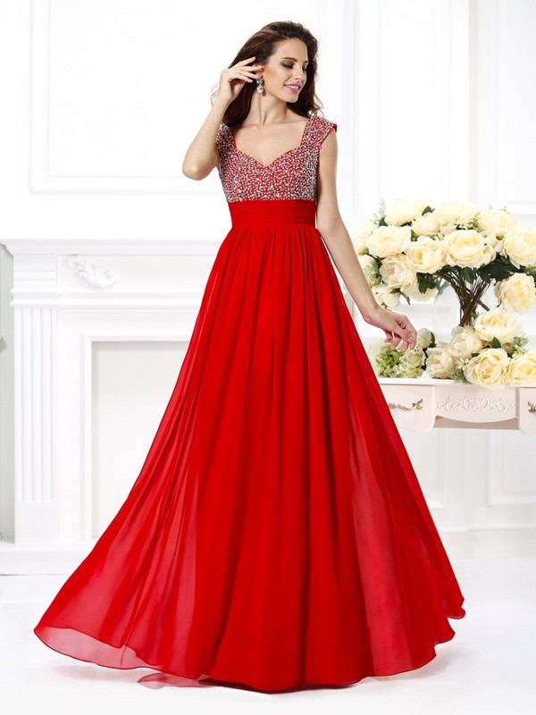 A-Line Chiffon Straps Sleeveless Floor-Length With Beading Dresses