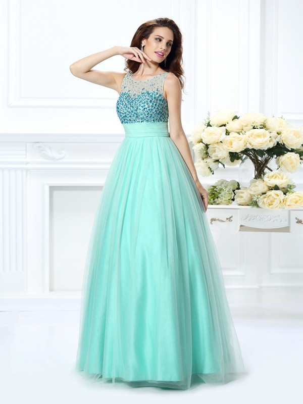 Ball Gown Chiffon Bateau Sleeveless Floor-Length With Beading Quinceanera Dresses