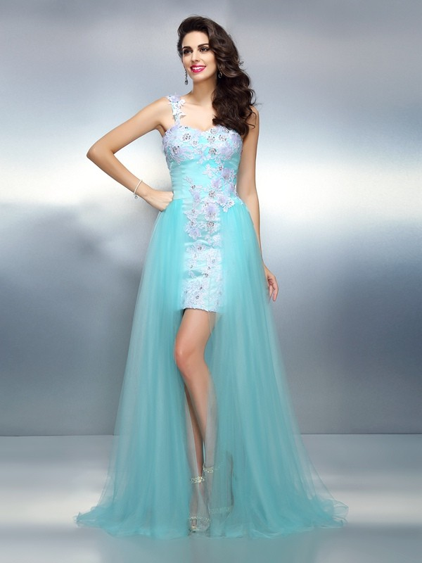 Sheath Elastic Woven Satin One-Shoulder Sleeveless Sweep/Brush Train With Applique Dresses