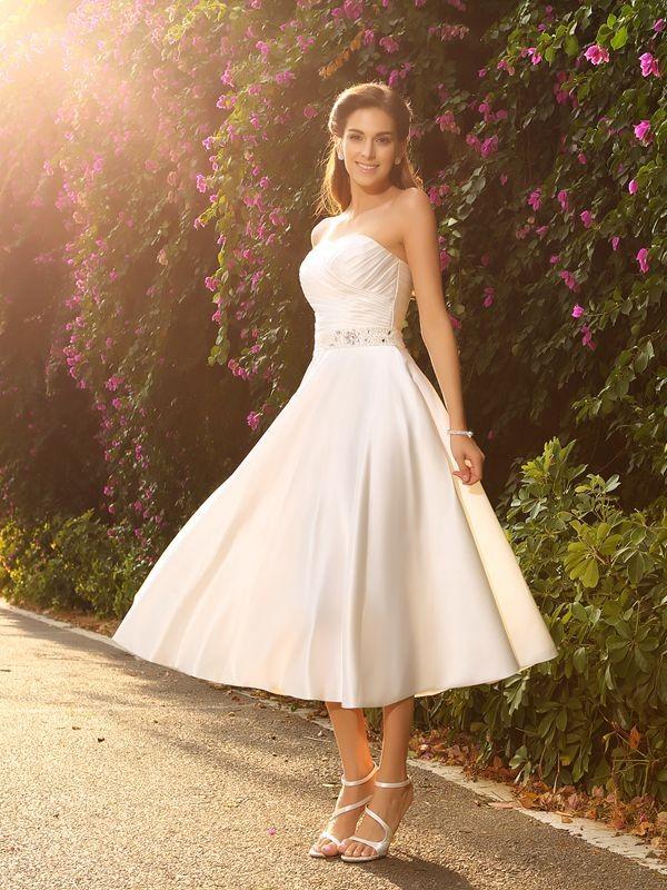 A-Line Satin Sweetheart Sleeveless Tea-Length With Beading Wedding Dresses