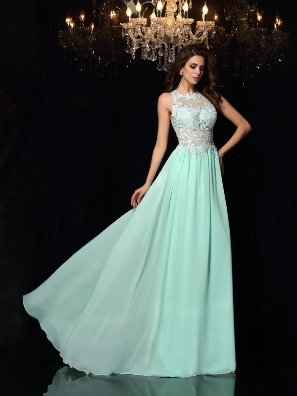 A-Line Chiffon High Neck Sleeveless Sweep/Brush Train With Applique Dresses