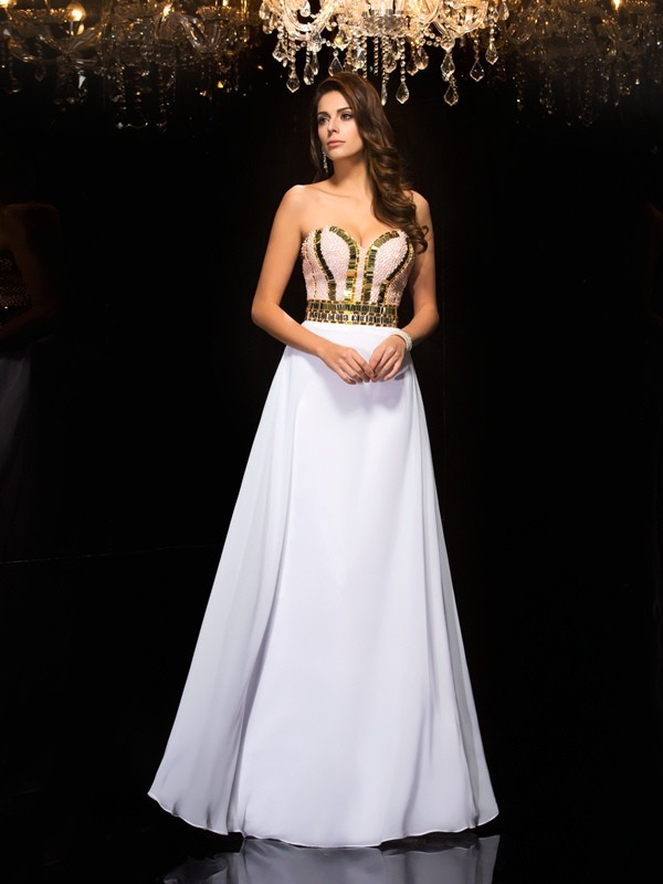 A-Line Chiffon Sweetheart Sleeveless Floor-Length With Sequin Dresses
