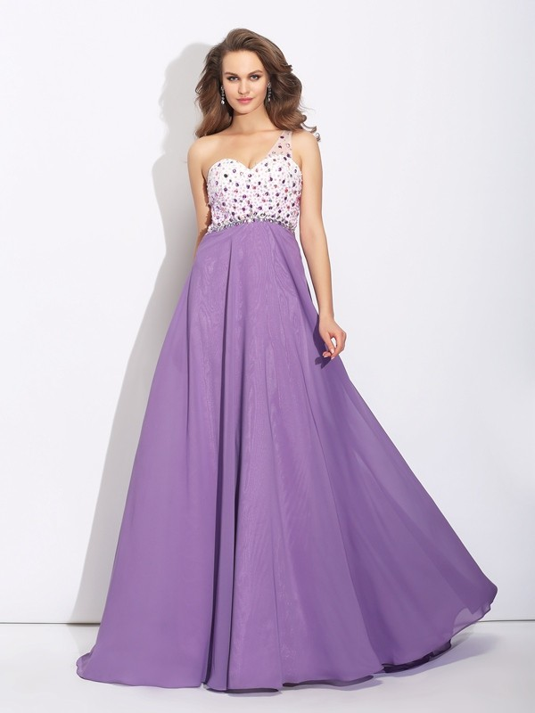 A-Line Chiffon One-Shoulder Sleeveless Sweep/Brush Train With Crystal Dresses