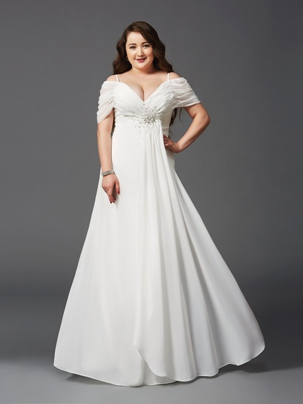 A-Line Chiffon Off-the-Shoulder Short Sleeves Floor-Length With Ruched Plus Size Dresses