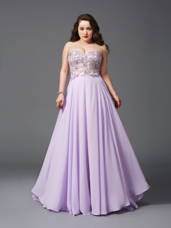 A-Line Chiffon Sweetheart Sleeveless Sweep/Brush Train With Lace Plus Size Dresses