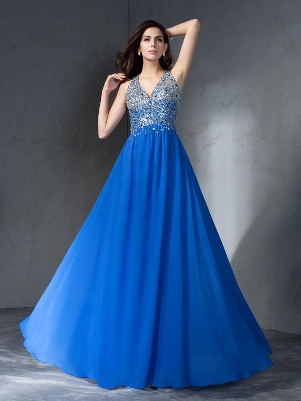 A-Line Chiffon V-neck Sleeveless Floor-Length With Beading Dresses