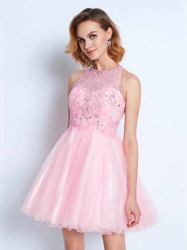 A-Line Net Jewel Sleeveless Short/Mini With Ruffles Dresses