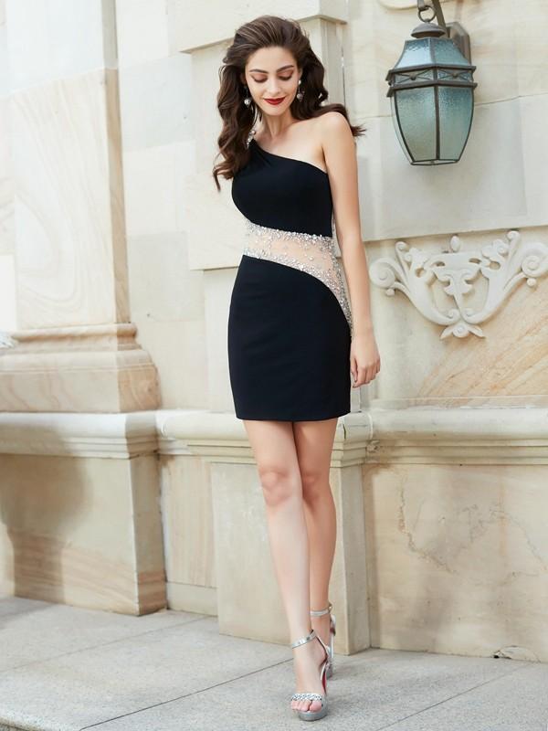 Sheath Net One-Shoulder Sleeveless Short/Mini With Beading Dresses