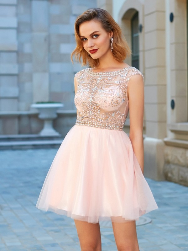 A-Line Net Scoop Short Sleeves Short/Mini With Beading Dresses
