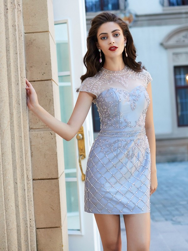 Sheath Satin Jewel Short Sleeves Short/Mini With Beading Dresses