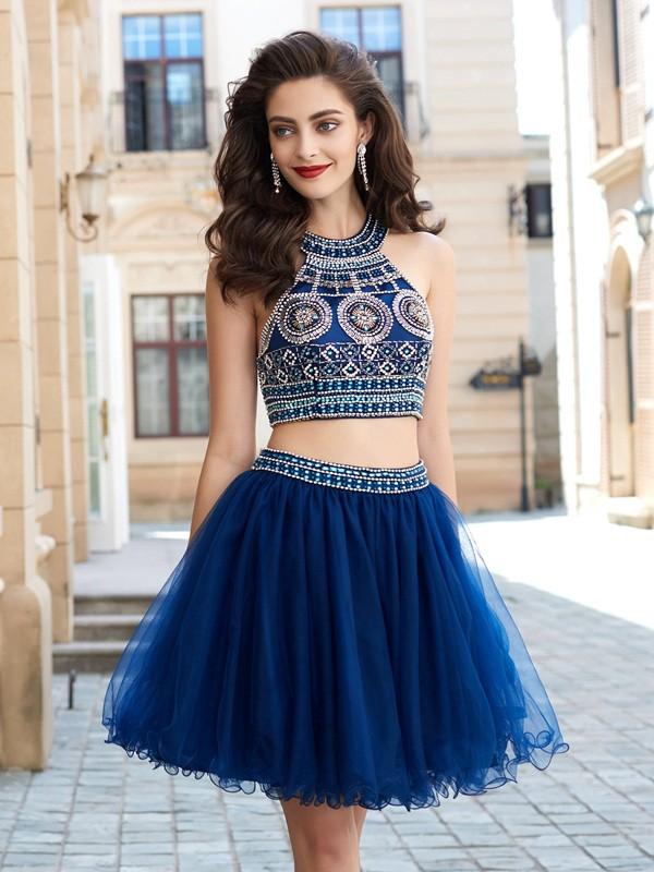 A-Line Net Jewel Sleeveless Short/Mini With Beading Two Piece Dresses