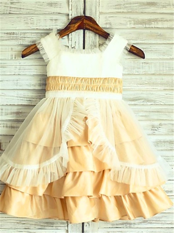 A-Line Satin Square Sleeveless Tea-Length With Layers Flower Girl Dresses