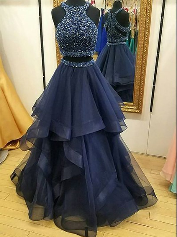 A-Line Sleeveless Halter Tulle With Beading Floor-Length Two Piece Dresses