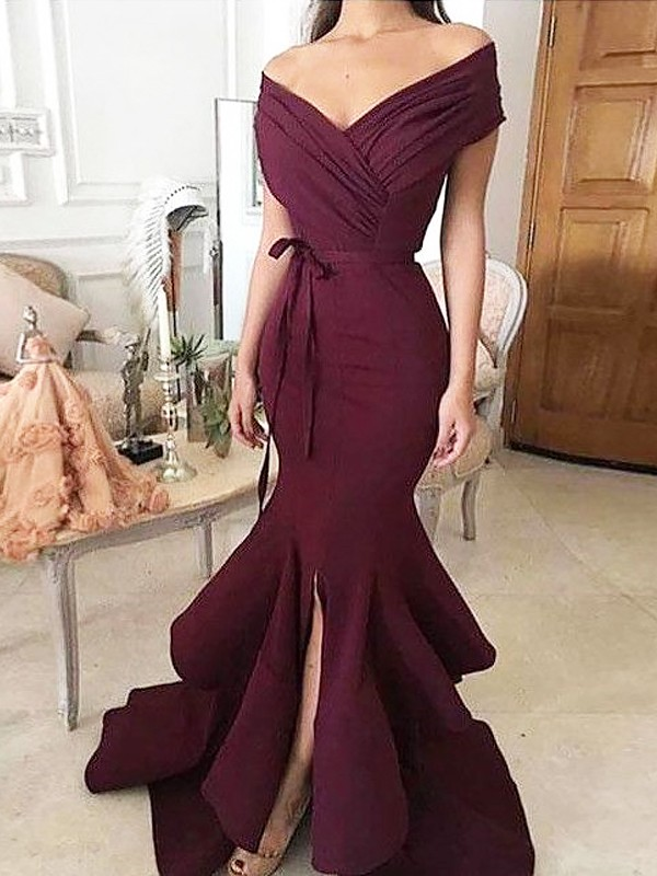 Mermaid Off-the-Shoulder Sleeveless Floor-Length With Ruched Stretch Crepe Dresses