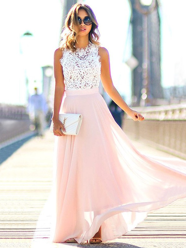 A-Line Jewel Sleeveless Floor-Length With Lace Chiffon Dresses