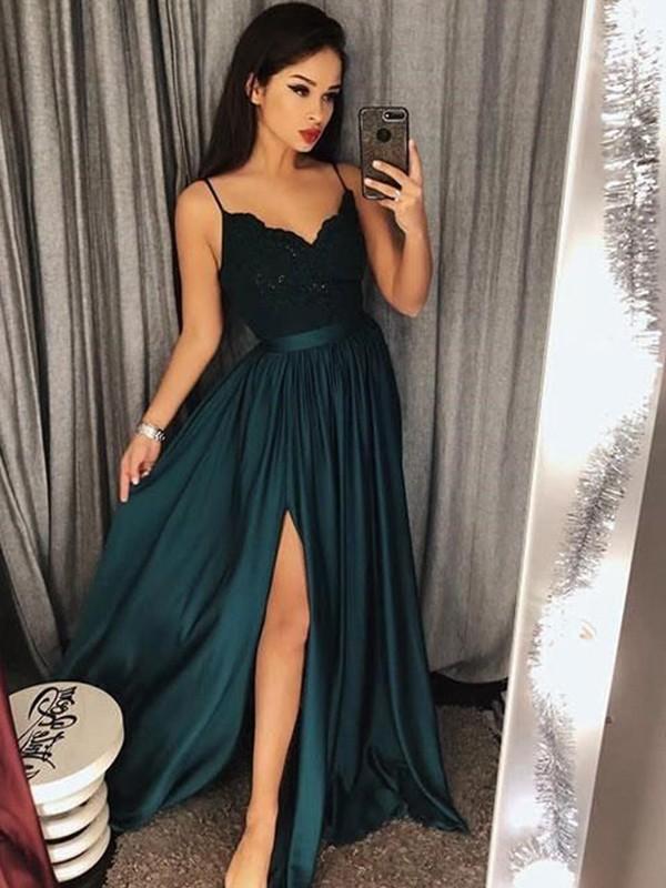 A-Line Spaghetti Straps Sleeveless Floor-Length With Lace Silk like Satin Dresses