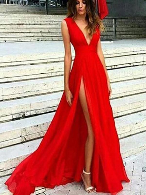 A-Line V-neck Sleeveless Floor-Length With Ruffles Chiffon Dresses