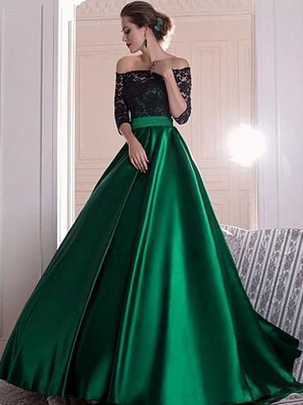 A-Line Off-the-Shoulder 3/4 Sleeves Lace With Ruched Sweep/Brush Train Satin Dresses