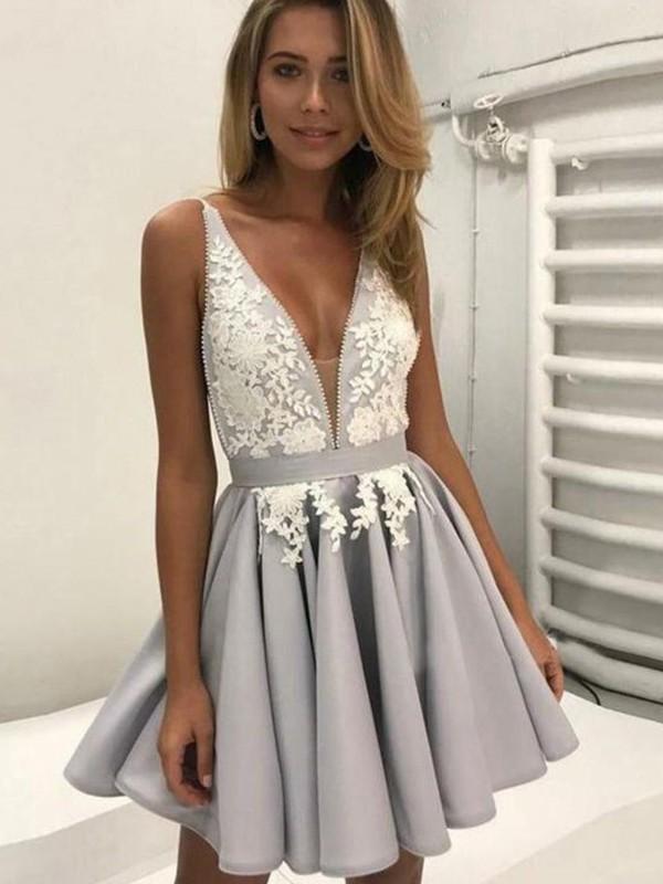 A-Line V-Neck Sleeveless Satin With Applique Short/Mini Dresses