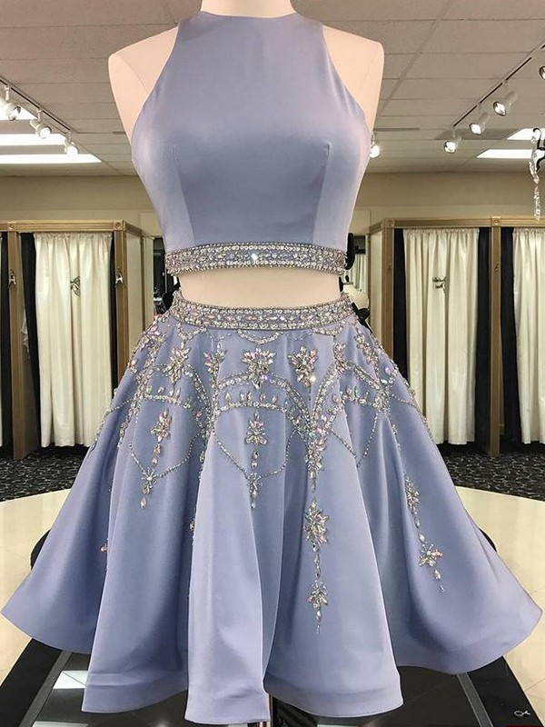 A-Line Sleeveless Bateau Satin With Beading Short/Mini Two Piece Dresses