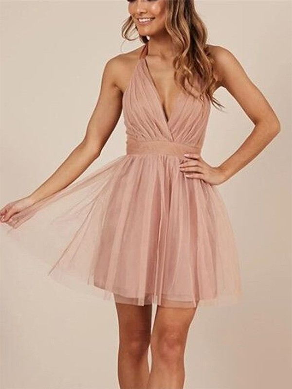 A-Line Sleeveless Halter Tulle With Ruffles Short/Mini Dresses