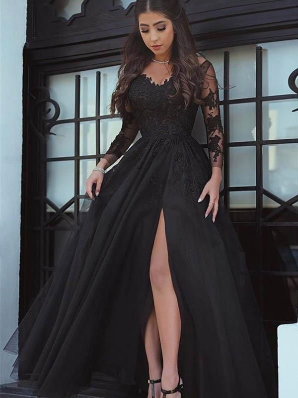 Ball Gown Long Sleeves Off-the-Shoulder Sweep/Brush Train Lace With Applique Dresses