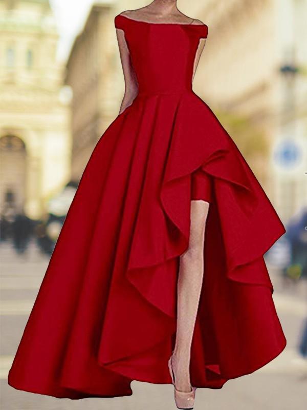 A-Line Sleeveless Off-the-Shoulder Asymmetrical Satin Dresses