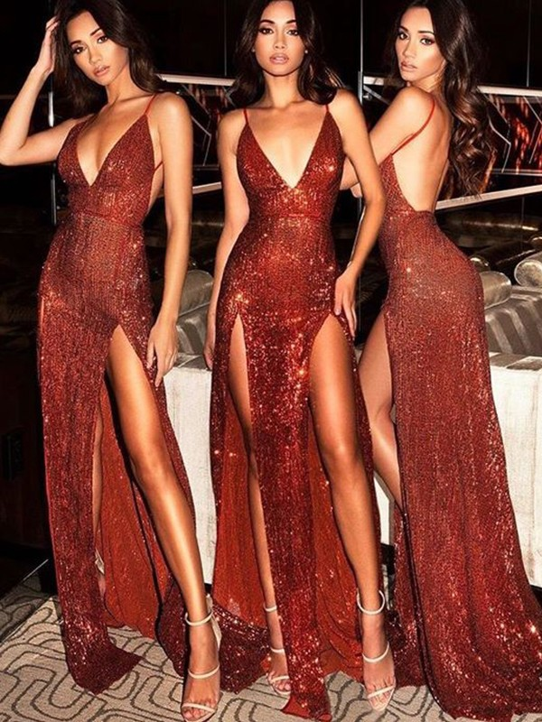 Sheath Sleeveless V-neck Sweep/Brush Train Sequins Dresses