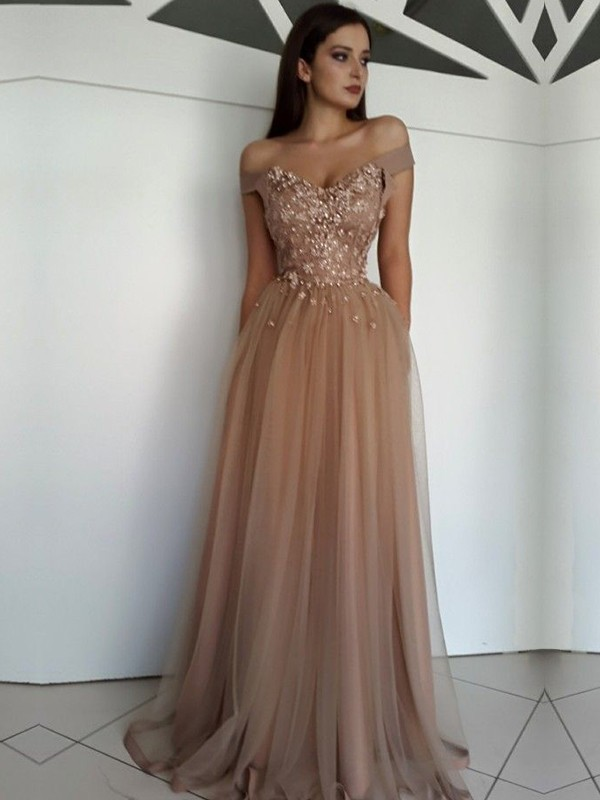 A-Line Sleeveless Off-the-Shoulder Floor-Length With Applique Tulle Dresses