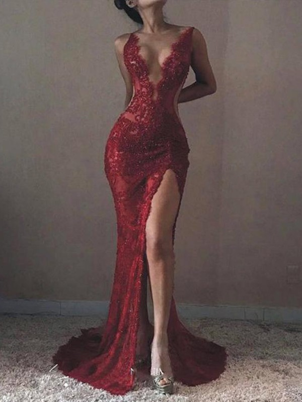 Mermaid Sleeveless V-neck Sweep/Brush Train Lace Tulle Dresses