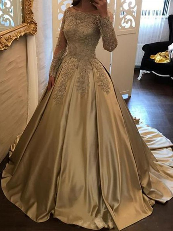 Ball Gown Long Sleeves Off-the-Shoulder Sweep/Brush Train With Applique Satin Dresses