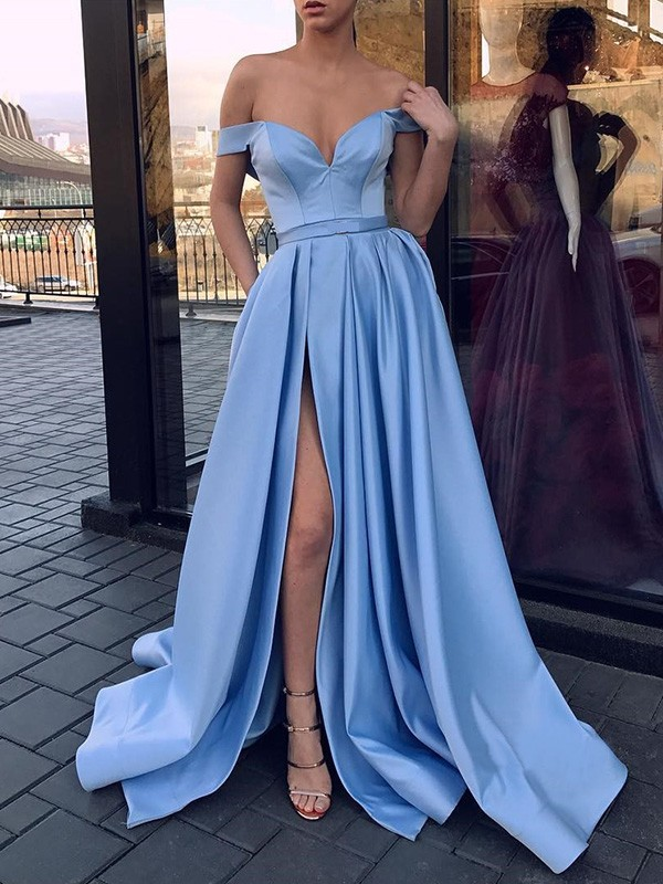 A-Line Sleeveless Off-the-Shoulder Sweep/Brush Train With Ruffles Satin Dresses