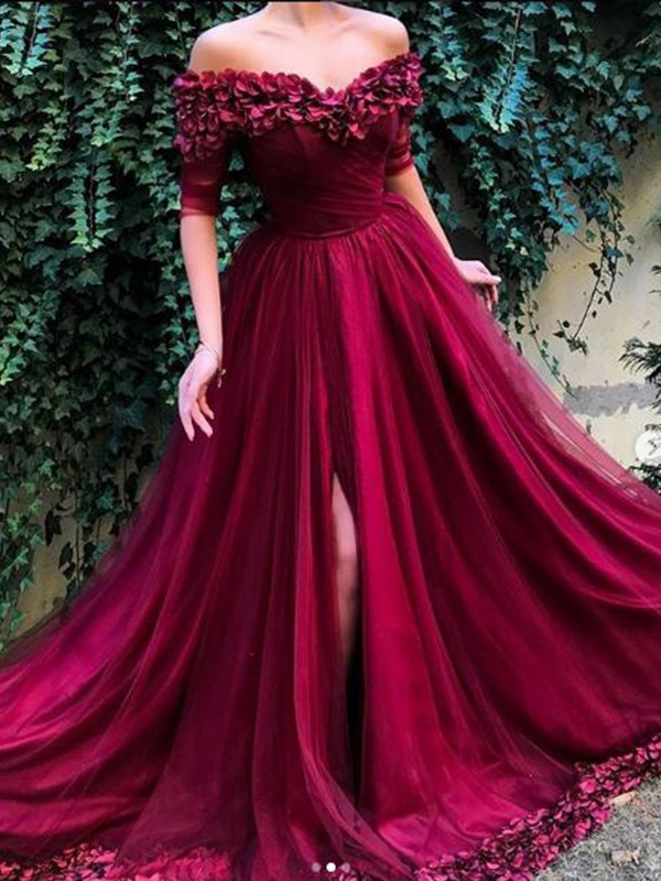 A-Line 1/2 Sleeves Off-the-Shoulder Sweep/Brush Train With Ruffles Tulle Dresses