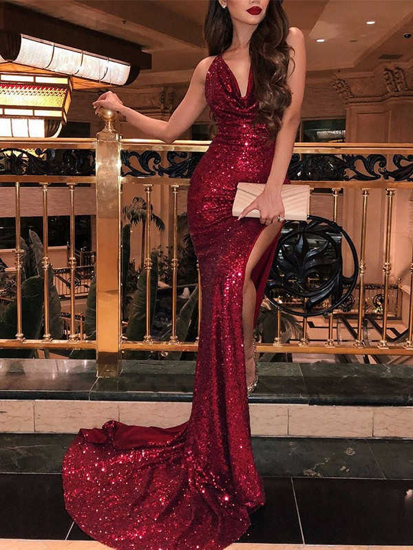 Mermaid Sleeveless V-neck Sweep/Brush Train With Ruffles Sequins Dresses