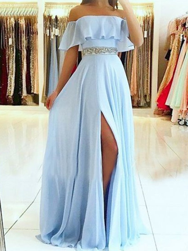 A-Line Sleeveless Off-the-Shoulder Floor-Length With Beading Chiffon Dresses