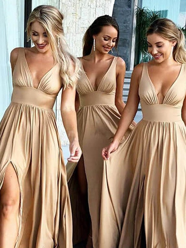 A-Line Sleeveless V-neck Sweep/Brush Train With Ruffles Silk like Satin Bridesmaid Dresses