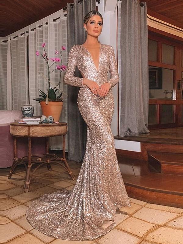 Trumpet/Mermaid Sequins Long Sleeves V-neck Sweep/Brush Train Ruffles Dresses