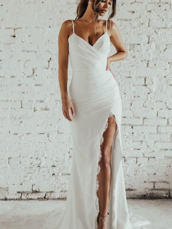 Sheath/Column Spaghetti Straps Ruched Sleeveless Sweep/Brush Train Wedding Dresses