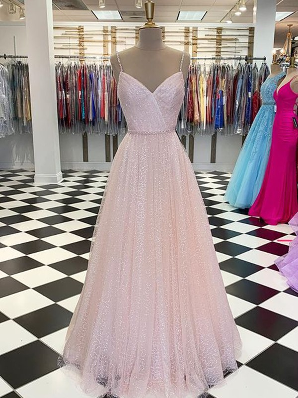 A-Line/Princess Floor-Length Spaghetti Straps Sleeveless Tulle Ruffles Dresses