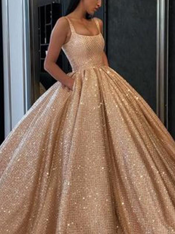 Ball Gown Ruffles Square Sleeveless Floor-Length Dresses
