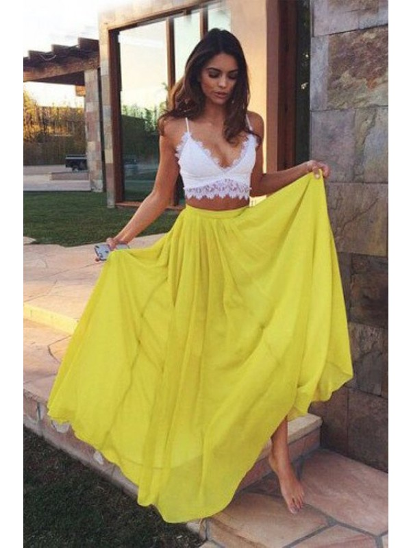 A-Line Chiffon Straps Sleeveless Floor-Length With Lace Two Piece Dresses