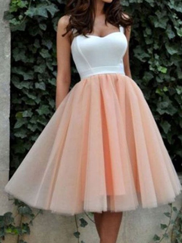 A-Line Tulle Sweetheart Sleeveless Short/Mini With Ruffles Dresses