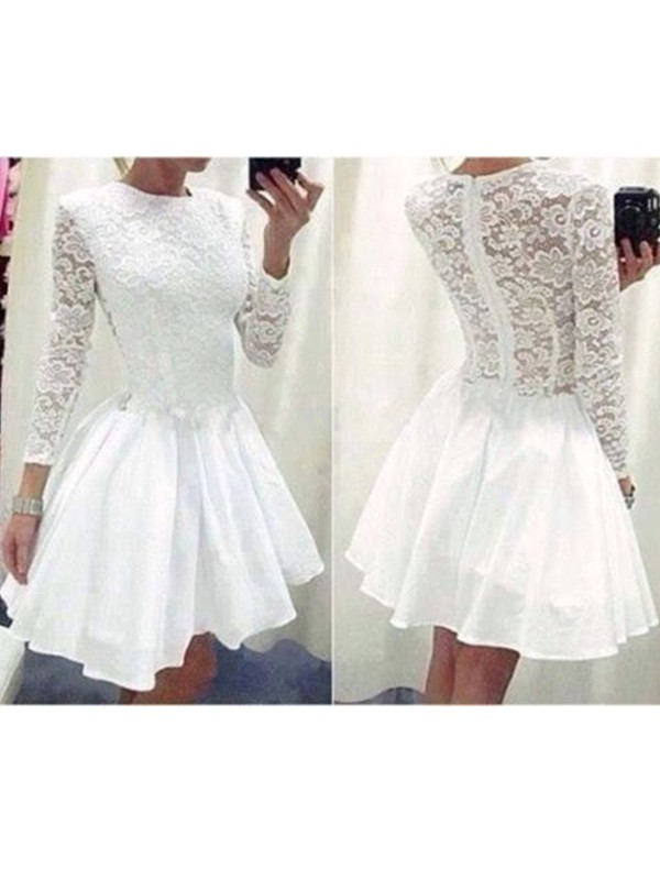 A-Line Chiffon Scoop Long Sleeves Short/Mini With Lace Dresses
