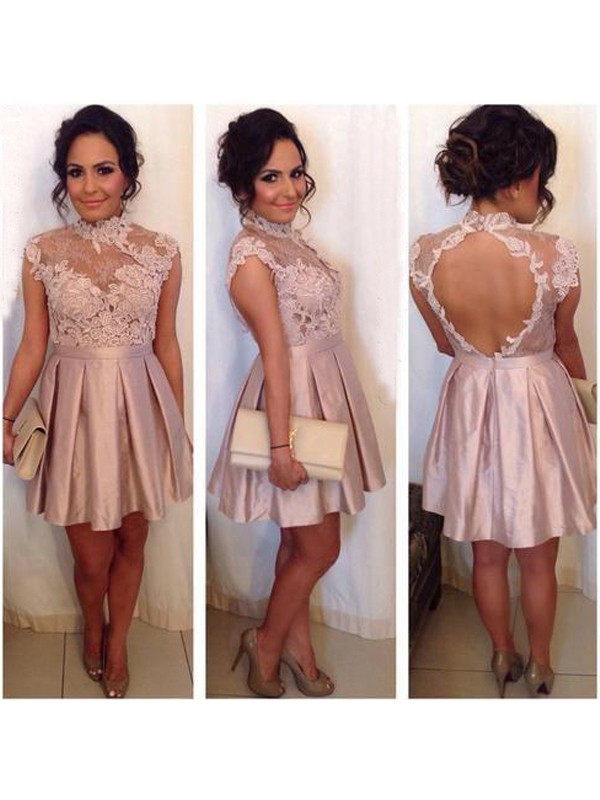 A-Line Satin High Neck Sleeveless Short/Mini With Lace Dresses