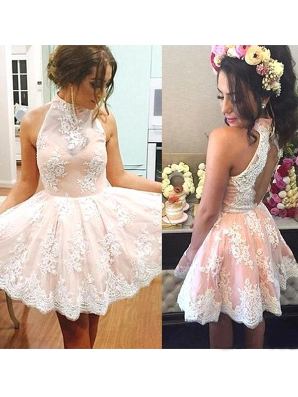 A-Line Lace High Neck Sleeveless Short/Mini With Applique Dresses