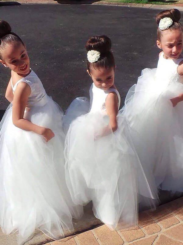 Ball Gown Tulle Jewel Sleeveless Floor-Length With Layers Flower Girl Dresses