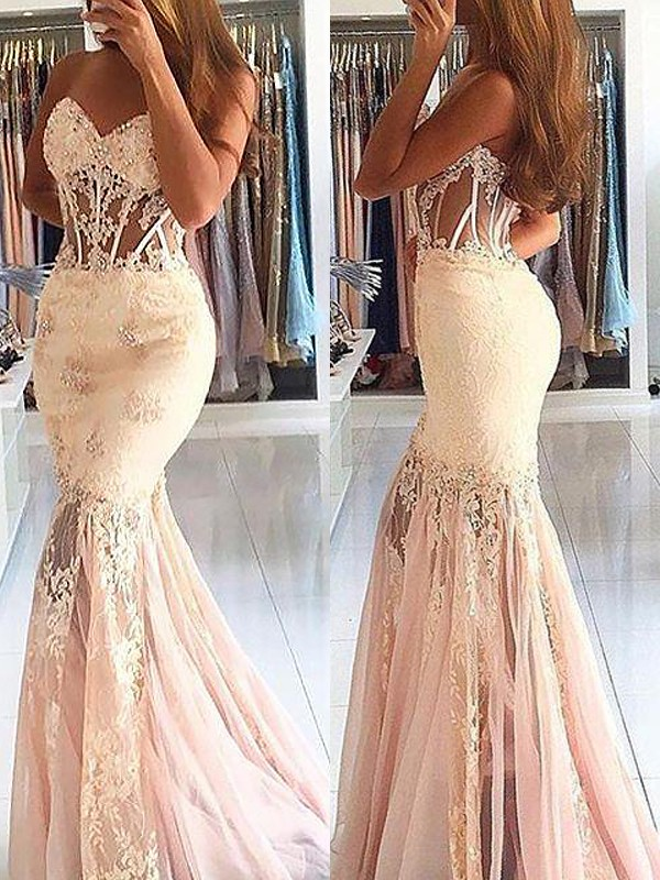 Mermaid Sleeveless Sweetheart Tulle With Lace Sweep/Brush Train Dresses